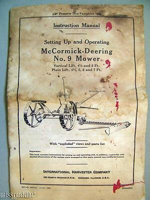 1941 International Harvester Co McCormick Deering No 9 Mower Instruction Manual
