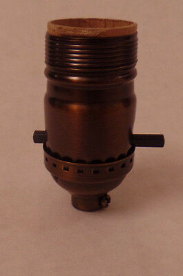 On/Off Antique Bronze Early Electric Style Uno Thread Push-Thru Lamp Socket 280B