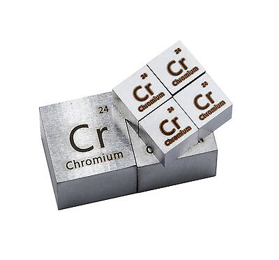 Chromium Metal 10mm Density Cube 99.99% Pure for Element Collection