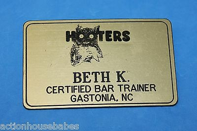 HOOTERS RESTAURANT GIRL BETH K CERTIFED BAR TRAINER GOLD NAME TAG - Waitress Pin