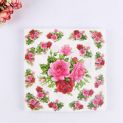 20pcs Rose Wedding Paper Napkins for Decoupage Wedding Decoration Supplies