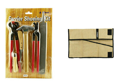 Farrier tools Kit Hoof Nipper Rasp Hammer Clinch Knife 6 pieces+ bag roll