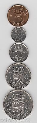 1980 Netherlands Coin Lot - 5 Cents, 10 Cents, 25 Cents, 1 Gulden, 2½ Gulden