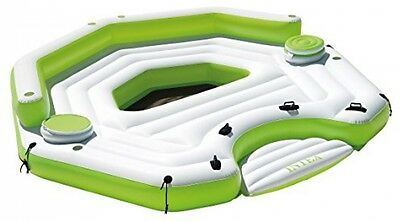 Key Largo Inflatable Party Island Float w/Cooler, Green Swimming Pool Float, New