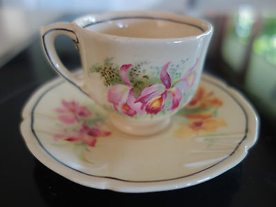 RARE VINTAGE DECO 30s ROYAL DOULTON ORCHID DESIGN  COFFEE CUP/SAUCER