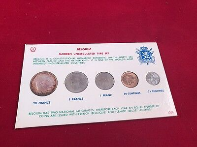 Belgium Modern Uncirculated Type Set 5 Coins 1953 Francs 1965 Centimes UNC