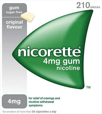 NICORETTE 4mg SUGAR FREE GUM - 210 PIECES - ORIGINAL