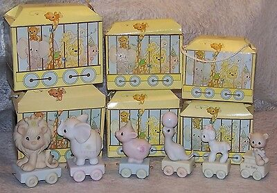 Precious Moments 1985 Birthday Train Set Of 6 With Boxes Baby-1-2-3-4-5 Years
