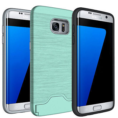 For Samsung Galaxy S7 Phone Case Kickstand Credit Card Hard Cover Mint Green