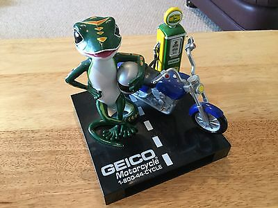 "***VERY RARE*** Vintage ""GEICO The Gecko"" Motorcycle Figure Advertising Piece"