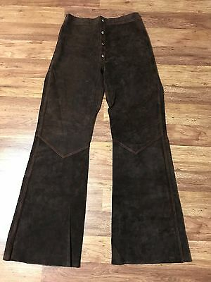 Mens Vtg 70s Hippie Biker Rocker Reversible Leather Bell Bottom Pants 30 x 34
