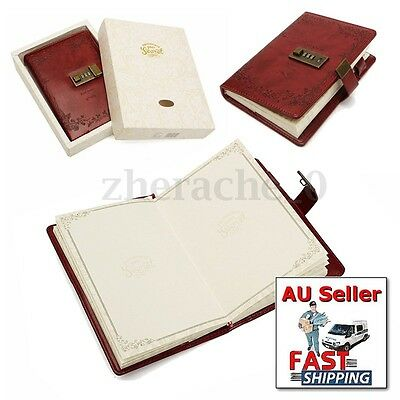 Notebook Leather B6 Password Lock Schedule Planner Red Rose Blank Diary Note