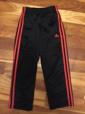 Adidas Boys Athletic Pants Size 7 Black With Red Stripes Great Condition