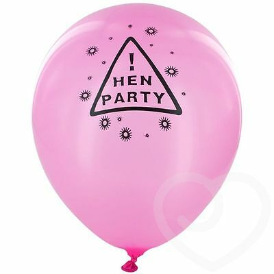 12 pcs Hen Night Party Warning Sign Pink Latex Balloons Hen Party Decorations