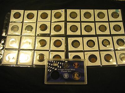 32 Old Coins With  3 Proof Coin Set 2000-S  Sacagawea Dollar, Nickel And Penny