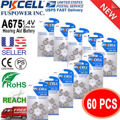 60 x 1.4V Zinc Air Hearing Aid Battery PR44 7003ZD S675A L675A A675 PKCELL