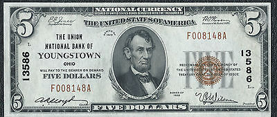 1929 National Currency $5  The Union National Bank Of Youngstown Ohio  #13586