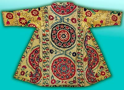 Vintage Gorgeous Uzbek Fully Silk Hand Embroidered Robe Chapan T960