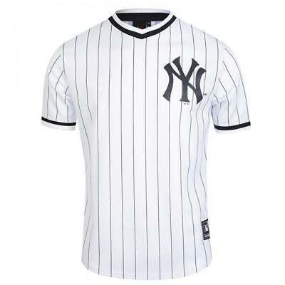 NEW New York Yankees V-Neck MLB White Poly Shirt by Majestic Athletic