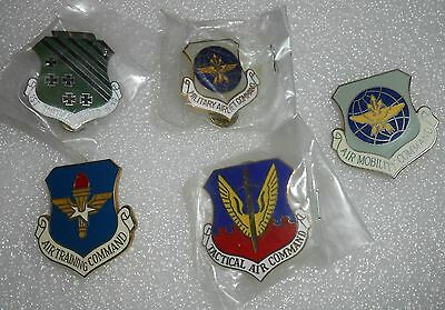 Lot of 5 Different Vintage Military Pins Air Mobility Command Tactical Wing