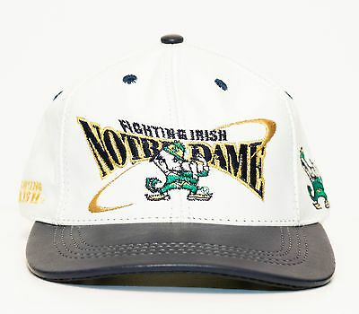 Vintage Notre Dame Fighting Irish Snapback Hat Cap All Leather USA MADE American