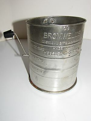 Vintage Bromwells Flour Measuring Sifter With Black Knob On Handle