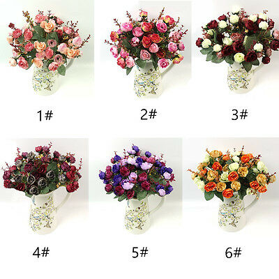 21Heads Artificial Fake Rose Bouquet Silk Flower Leaf Wedding Party Home Decors