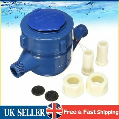 15mm Single Flow Dry Cold Water Meter Measuring Water Table Counter Garden Home