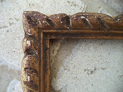 Ancien Cadre Bois Dore Feuille D'or  Feuillure 22,5 X 14,5 Frame French Antique
