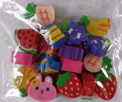 Bulk Pack of 20 Mini Novelty Erasers Assorted Styles New Kids Party Favors Gifts