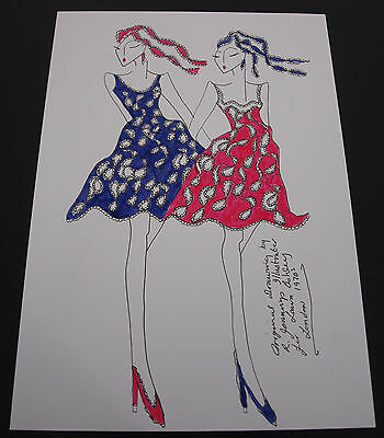 Roz Jennings Fashion Drawing Original Art Work Illustrator Laura Ashley 70s D20