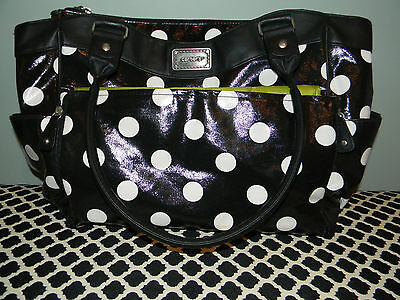 Carter's Diaper Baby Bag Black White Polka Dot with Changing Pad