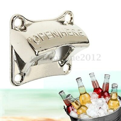 Zinc Alloy Wall Mount Mounted Bottle Opener Wine DJ Club Bar Soda Beer Open Tool