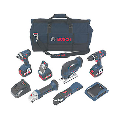 Bosch 18v Wireless Charging 6 Piece Kit GSB,GST,GDR,GOP,GWS,GLI 3 x 4.0ah(5272)