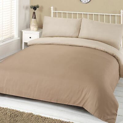 Brentfords Plain Reversible Duvet Cover with Pillowcase Bedding Set Mink Cream