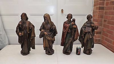 Good Group Of Early Antique Carved And Painted Figures