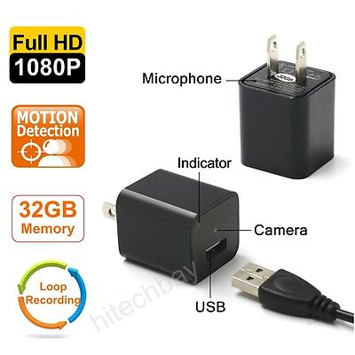FULL HD 1080P USB Security Camera Hidden Spy DVR AC Adapter Charger+Motion+32GB