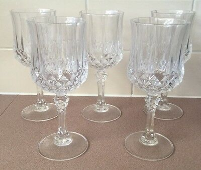 5 CRISTAL D'ARQUES 25cl LONGCHAMP LEAD CRYSTAL WINE DRINKING GLASSES 18.5cm TALL