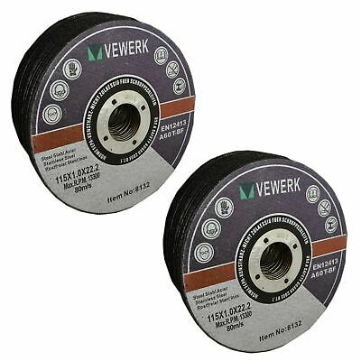 "Thin Metal Steel Cutting Discs For 4-1/2"" Angle Grinder 115mm x 1mm Pack of 50"