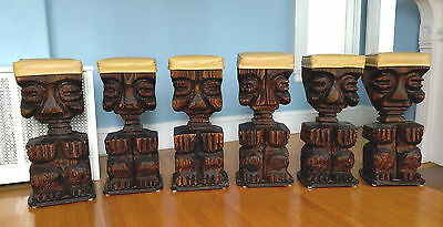 Prime Set 6 Vtg Witco Tiki Bar Stools Great Crouching Et Form Customarchery Wood Chair Design Ideas Customarcherynet
