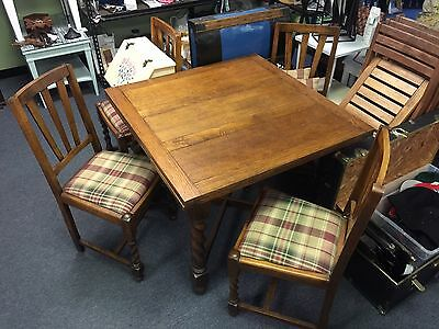 Antique Barley Twist Draw Leaf English Pub Table & 4 Chairs