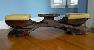 Vtg. WITCO Tiki Two Seat Bench w Table Wishbone X Base Telephone Checkers Drinks