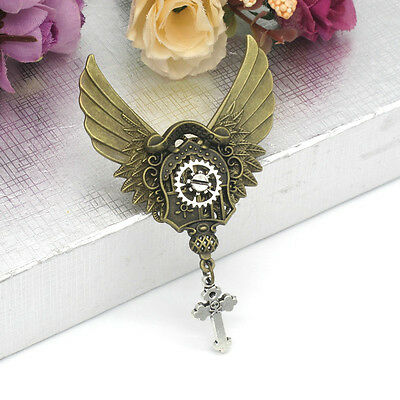 Hot Brooch Vintage Steampunk Gear Wing Pattern  Medieval Victorian Breastpin