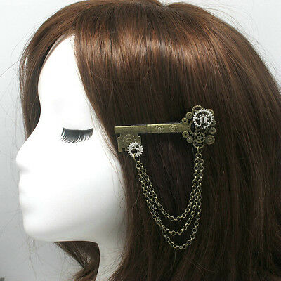 New 1pc Medieval Victorian Headwear Props Punk Hairclip Gear Key Pattern Retro