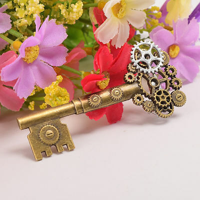 1pc Medieval Victorian Breastpin Props Punk Brooch Pin Gear Key Pattern Retro