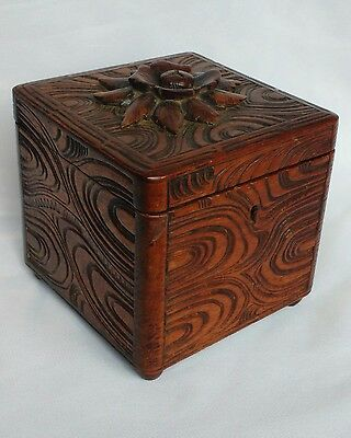 Beautiful antique Black Forest cube form Tea Caddy - Deeply Carved wooden box