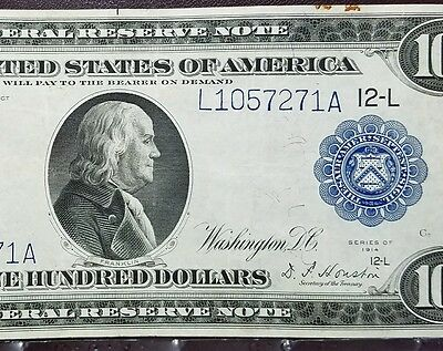 Fr 1130 1914 $100 Federal Reserve Note San Francisco VF-XF Bold Color!
