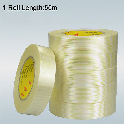 3M #8915 EXTRA STRONG Clear Fiberglass Reinforced Strapping Filament Tape - 55m