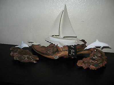 Lot of 3 JOHN PERRY Driftwood Displays Sailboat Dolphins Collectible