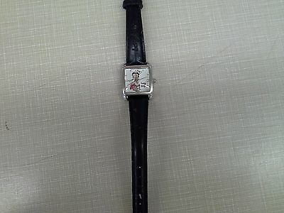 Authentic 2002 Betty Boop Black Leatherband Holiday Ladies Watch